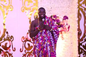 Philip Frimpong in traditional Kente wrap
